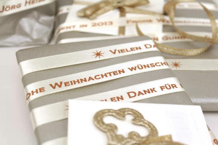 Immer mehr Firmen verwenden Geschenkband mit Firmenlogo - weihnachtsgeschenke, personaliserte-bander