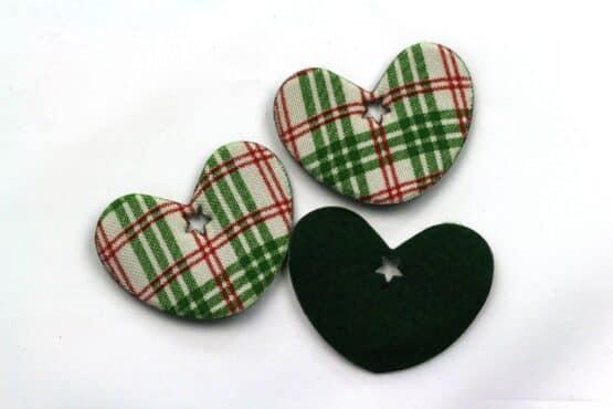 Geschenkanhänger Herz rot-grün kariert, 52 mm, 20 Stück - geschenkanhaenger, accessoires