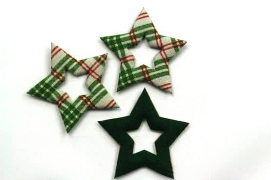 Geschenkanhänger Stern grün-rot kariert, 52 mm, 20 Stück - geschenkanhaenger, accessoires