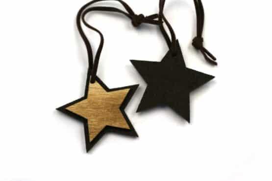 Geschenkanhänger Stern aus Filz + Holz, braun, 50mm, 12 Stück - geschenkanhaenger, accessoires