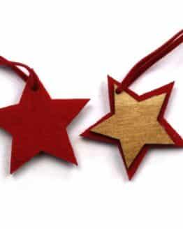 Geschenkanhänger Stern aus Filz + Holz, rot, 50mm, 12 Stück - geschenkanhaenger, accessoires