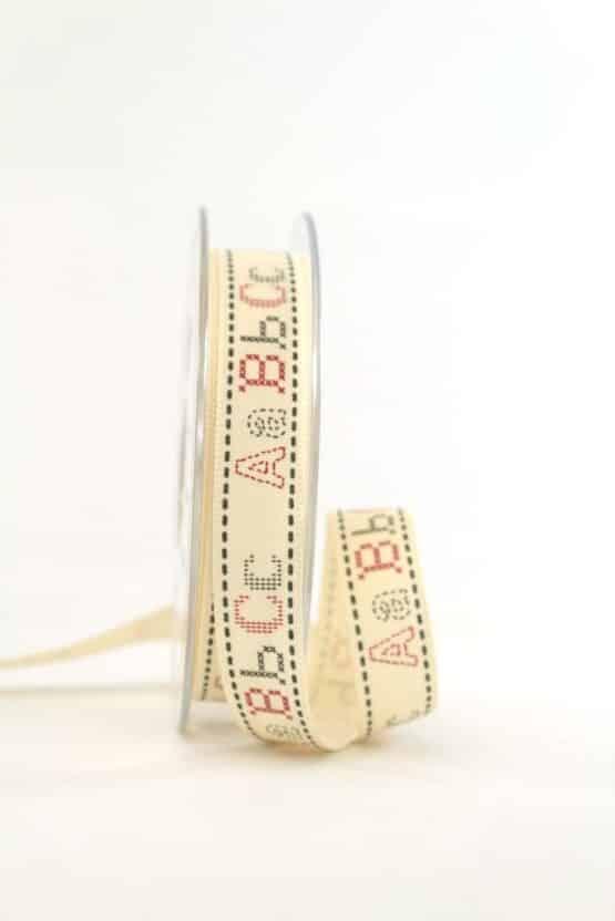"""Vintage-Geschenkband """"ABC"""", 15 mm - vintage-baender, geschenkband-gemustert"""