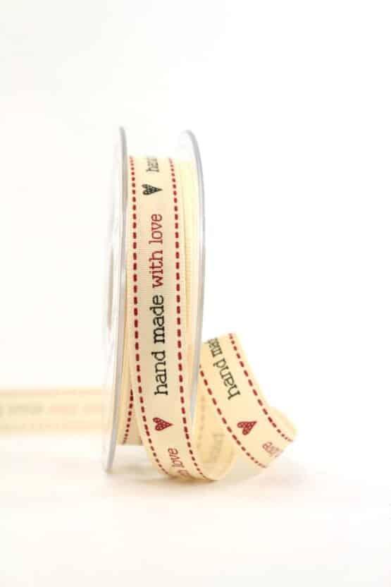 "Klassik-Geschenkband ""Handmade with Love"", 15 mm - vintage-baender, geschenkband-gemustert"