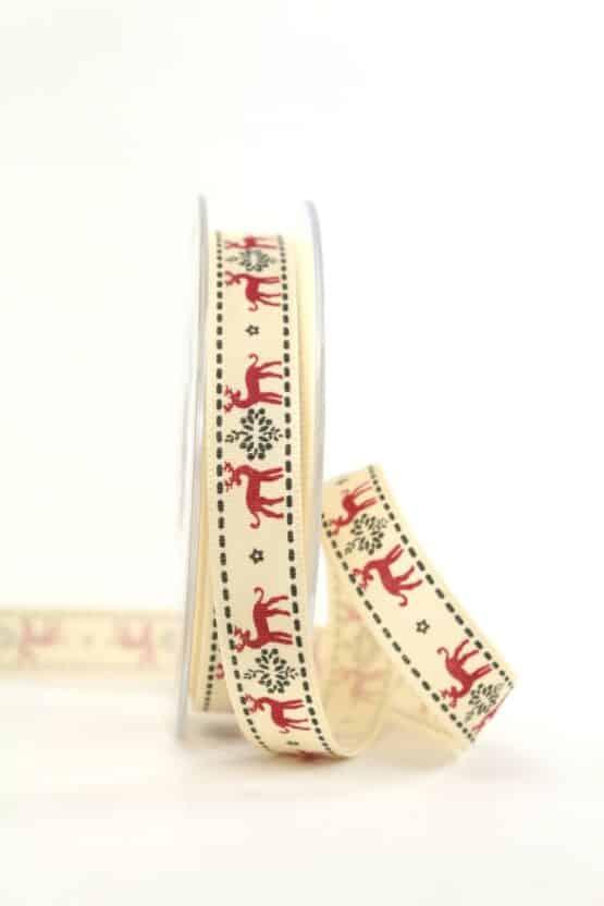 """Vintage-Geschenkband """"Rentier"""" rot, 15 mm - vintage-baender, geschenkband-weihnachten, geschenkband-gemustert"""