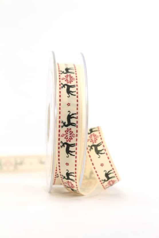 """Vintage-Geschenkband """"Rentier"""" schwarz, 15 mm - vintage-baender, geschenkband-weihnachten, geschenkband-gemustert"""