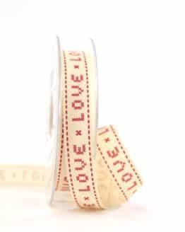 """Vintage-Geschenkband """"Love"""", 15 mm - vintage-baender, geschenkband-gemustert"""
