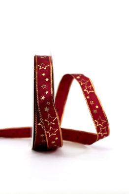 Geschenkband 15mm bordeaux-gold Sterne (954631502725)