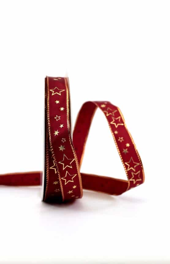 Geschenkband bordeaux / goldene Sterne, 15 mm breit - geschenkband-weihnachten-gemustert, geschenkband-weihnachten