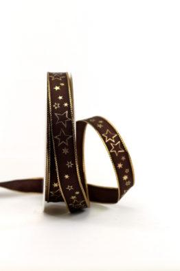 Geschenkband 15mm braun-gold Sterne (954631507725)