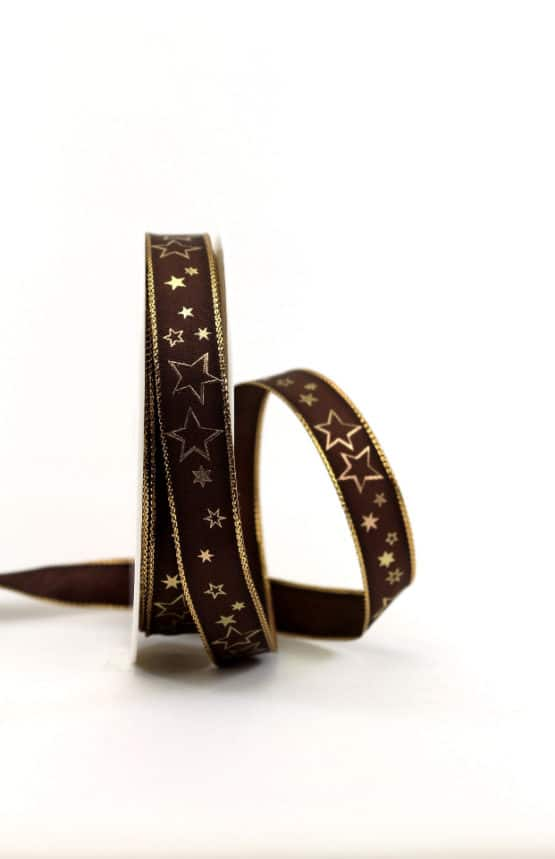 Geschenkband braun / goldene Sterne, 15 mm breit - geschenkband-weihnachten-gemustert, geschenkband-weihnachten