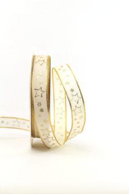 Geschenkband 15mm creme-gold Sterne (954631500225)