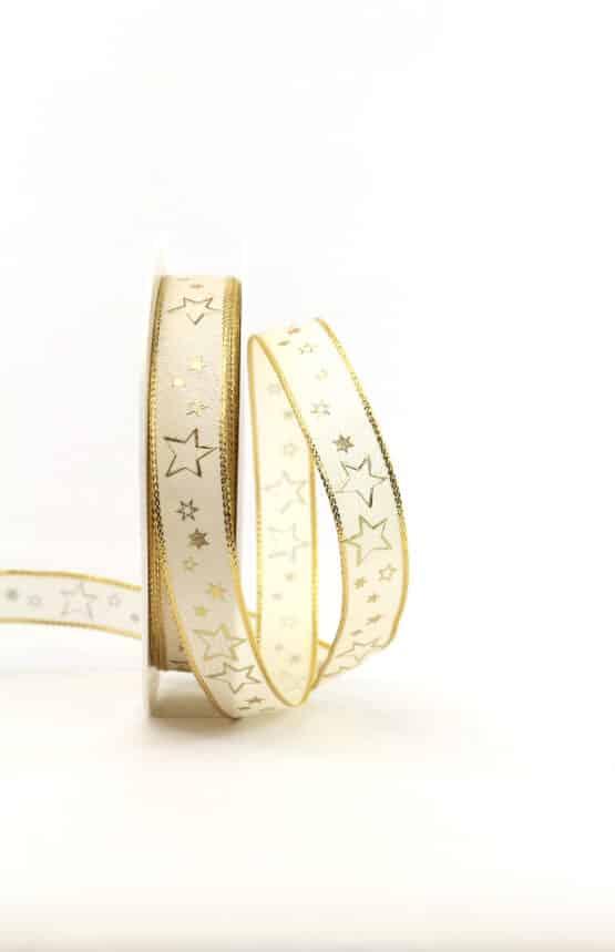 Geschenkband creme / goldene Sterne, 15 mm breit - geschenkband-weihnachten-gemustert, geschenkband-weihnachten