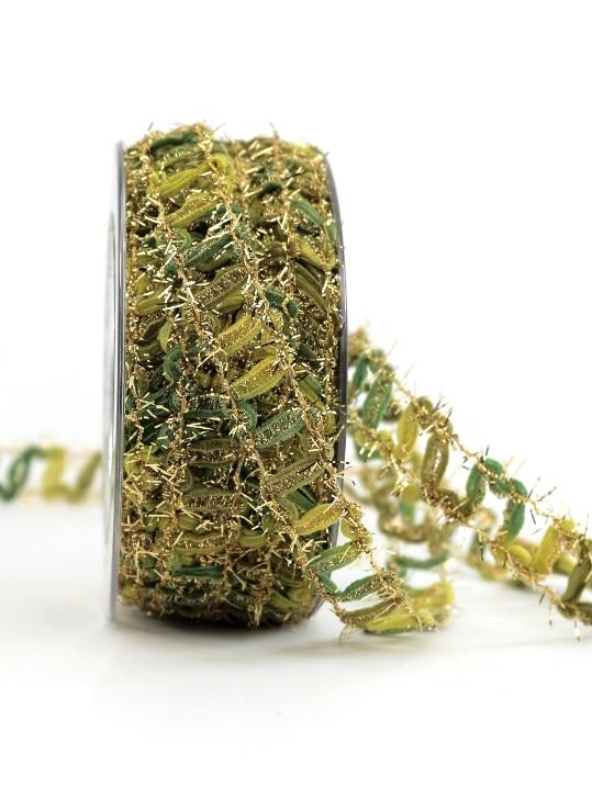 Deko-Gitterband grün-gold, 15 mm breit - gitterband, geschenkband-weihnachten-gemustert, geschenkband-weihnachten