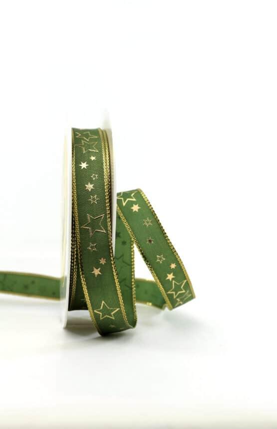 Geschenkband grün / goldene Sterne, 15 mm breit - geschenkband-weihnachten-gemustert, geschenkband-weihnachten