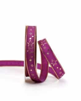 Geschenkband lila / goldene Sterne, 15 mm breit - geschenkband-weihnachten-gemustert, geschenkband-weihnachten
