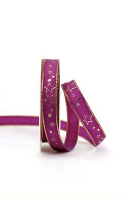 Geschenkband 15mm lila-gold Sterne (954631502825)