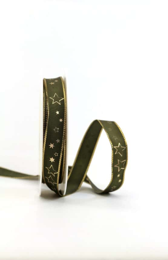 Geschenkband olivgrün / goldene Sterne, 15 mm breit - geschenkband-weihnachten-gemustert, geschenkband-weihnachten