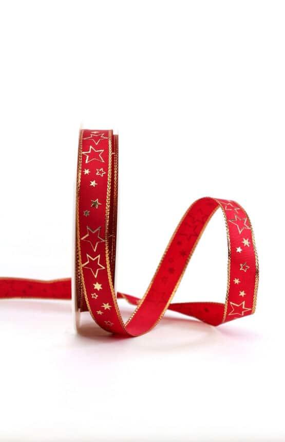 Geschenkband rot / goldene Sterne, 15 mm breit - geschenkband-weihnachten-gemustert, geschenkband-weihnachten