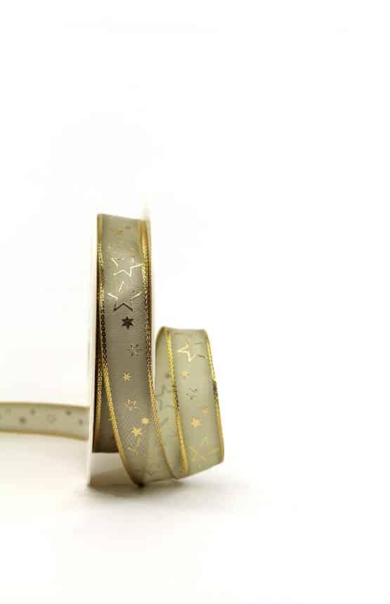 Geschenkband taupe / goldene Sterne, 15 mm breit - geschenkband-weihnachten-gemustert, geschenkband-weihnachten