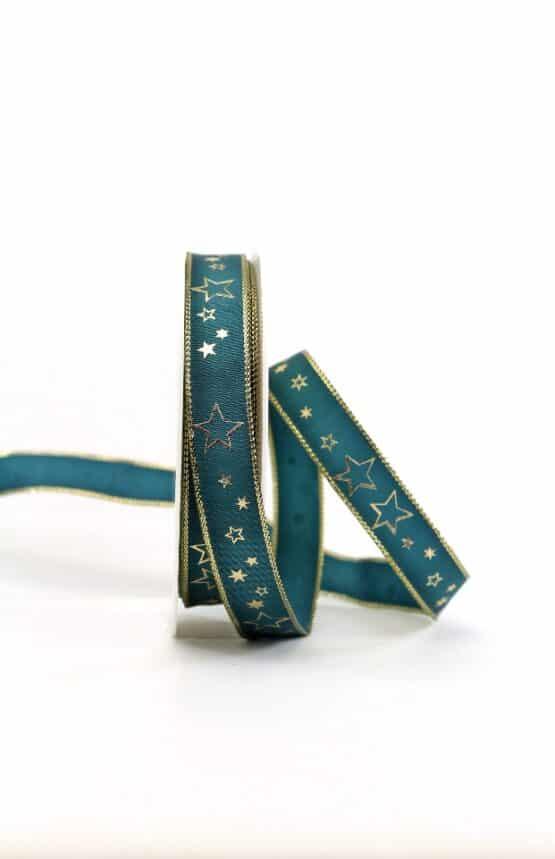 Geschenkband türkis / goldene Sterne, 15 mm breit - geschenkband-weihnachten-gemustert, geschenkband-weihnachten