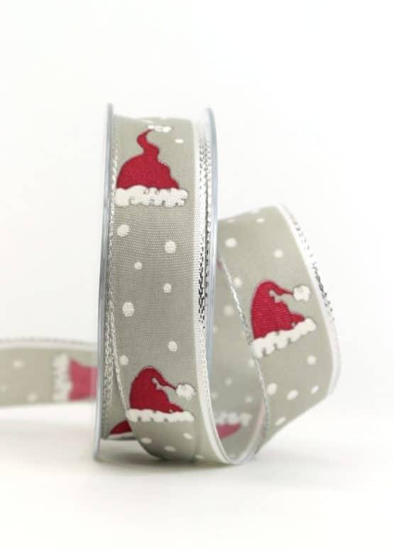 Weihnachtsband Santa Claus, grau, 25 mm breit - geschenkband-weihnachten-gemustert, geschenkband-weihnachten