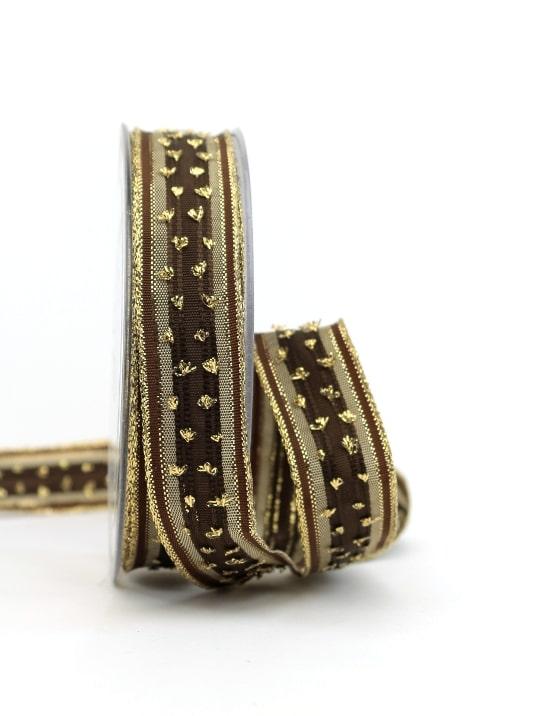 Weihnachtsband mit Schlaufen, braun-gold, 25 mm breit - geschenkband-weihnachten-gemustert, geschenkband-weihnachten