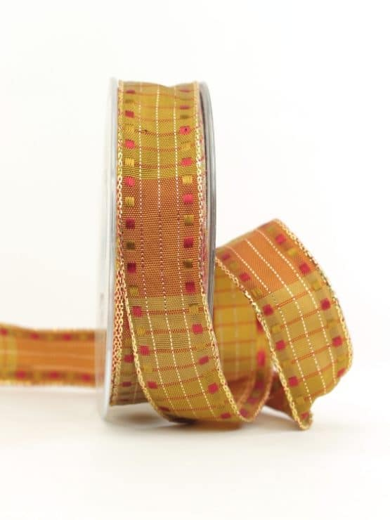 Weihnachtsband mit Kästchen, terra-gold, 25 mm breit - geschenkband-weihnachten-gemustert, geschenkband-weihnachten