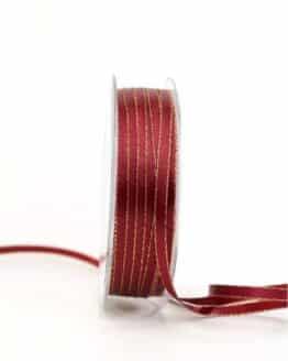 Satinband mit Goldkante, 6 mm breit, bordeaux - satinband-m-goldkante, geschenkband-weihnachten-einfarbig, geschenkband-weihnachten