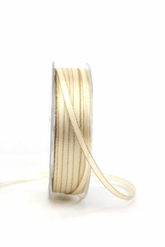 Satinband mit Goldkante, 6 mm breit, creme - satinband-m-goldkante, geschenkband-weihnachten-einfarbig, geschenkband-weihnachten