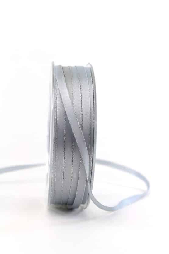 Satinband mit Silberkante, 6 mm breit, grau - satinband-m-goldkante, geschenkband-weihnachten-einfarbig, geschenkband-weihnachten