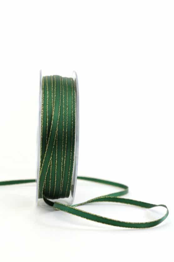 Satinband mit Goldkante, 6 mm breit, tannengrün - satinband-m-goldkante, geschenkband-weihnachten-einfarbig, geschenkband-weihnachten