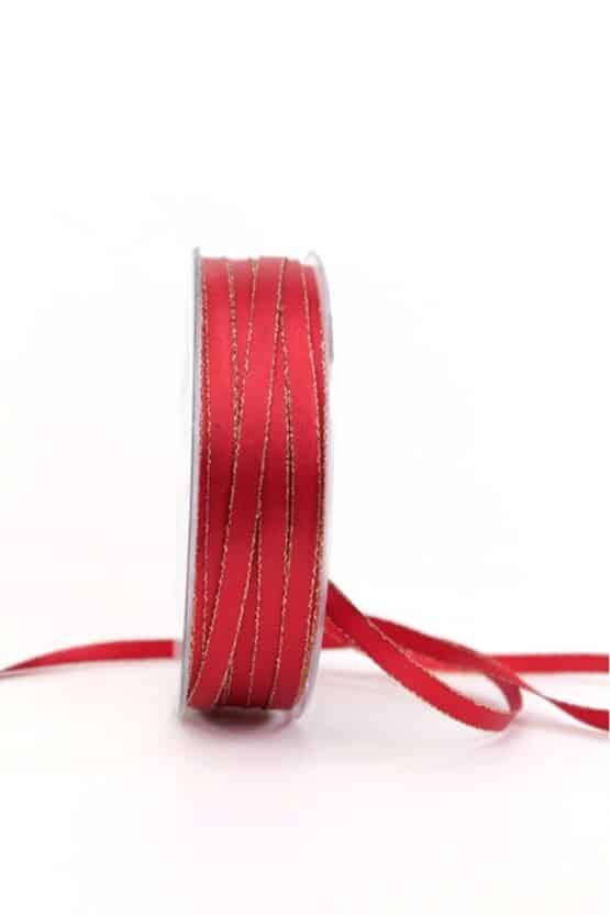 Satinband mit Goldkante, 6 mm breit, rot - satinband-m-goldkante, geschenkband-weihnachten-einfarbig, geschenkband-weihnachten