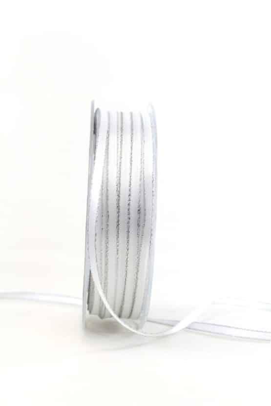Satinband mit Silberkante, 6 mm breit, weiß - satinband-m-goldkante, geschenkband-weihnachten-einfarbig, geschenkband-weihnachten