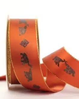 Geschenkband Elefanten, terra-gold, 40 mm breit - geschenkband-weihnachten-gemustert, geschenkband-weihnachten