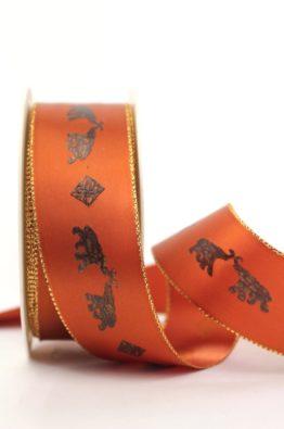 Geschenkband Afrika Elefanten terra-gold 40mm (942774007425)