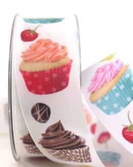 Geschenkband Cupcakes, 40 mm - geschenkband-gemustert, essen-trinken, anlasse