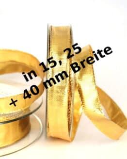 Lamé - Band gold in 15, 25 und 40 mm, mit Drahtkante - weihnachtsband