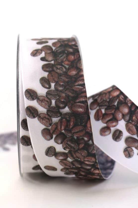 Geschenkband Kaffeebohnen, 40 mm - geschenkband-gemustert, essen-trinken, anlasse