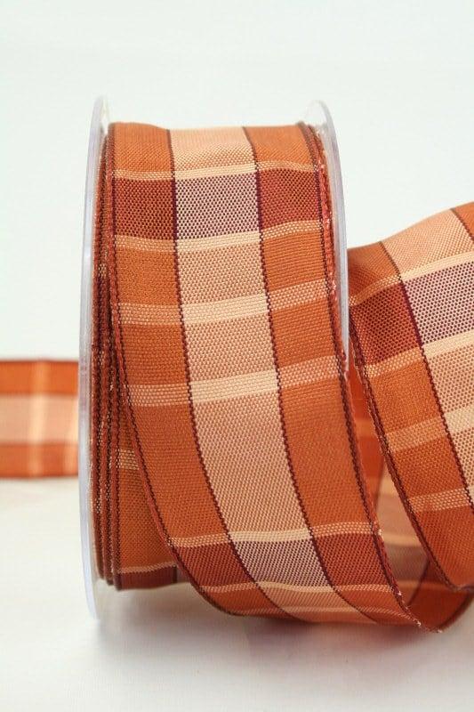 Karoband braun mit Drahtkante, 40 mm breit - sonderangebot, karoband, geschenkband-kariert, dekoband-mit-drahtkante