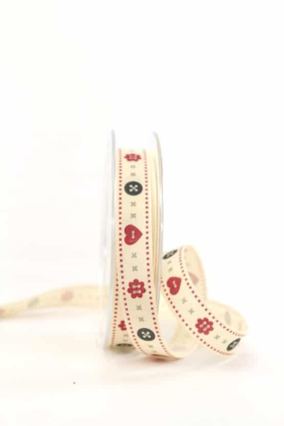"""Vintage-Geschenkband """"Knöpfe"""", 15 mm - vintage-baender, geschenkband-gemustert"""