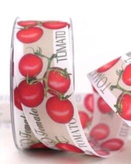 Geschenkband Tomaten, 40 mm - geschenkband-gemustert, essen-trinken, anlasse