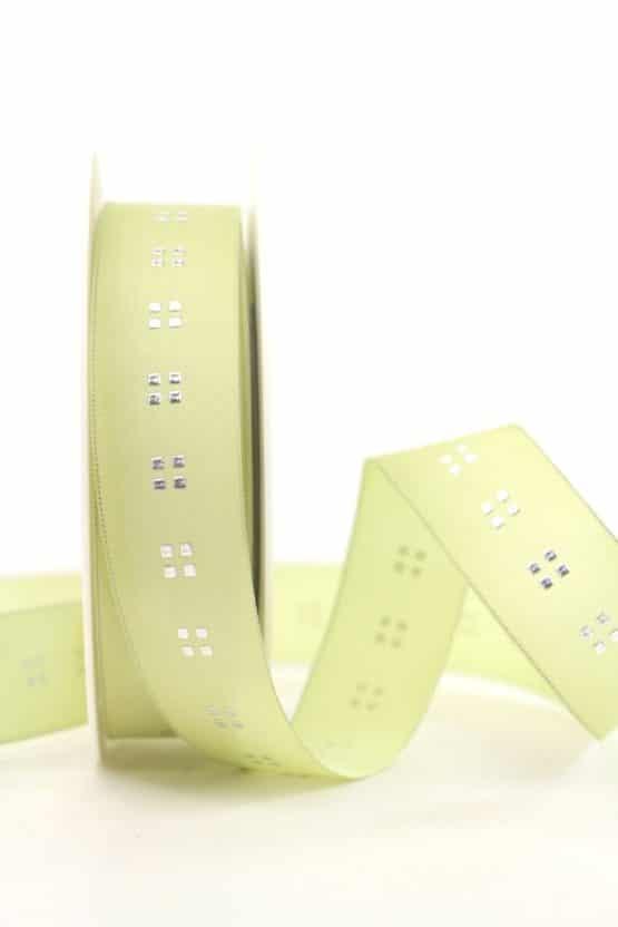 Geschenkband Weihnachten grün-silber, 25 mm breit - geschenkband-weihnachten-gemustert, geschenkband-weihnachten