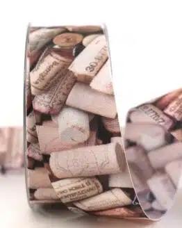 Geschenkband Korken, 40 mm - geschenkband-gemustert, essen-trinken, anlasse