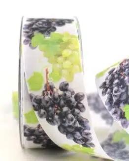Geschenkband Weintrauben, 40 mm - geschenkband-gemustert, essen-trinken, anlasse