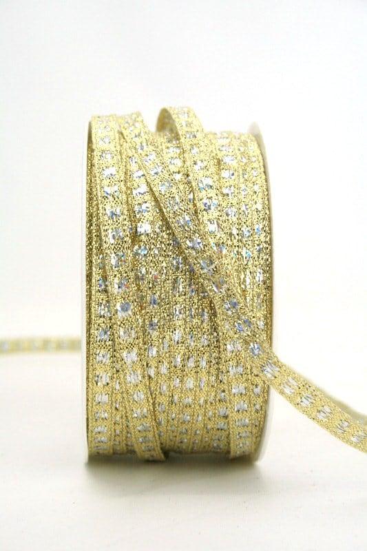 Schmales Weihnachtsband gold-silber bicolor, 5 mm breit - weihnachtsband, sonderangebot, geschenkband-weihnachten