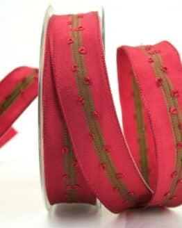 Schlichtes Geschenkband bordeaux-grün, 25 mm breit - geschenkband-weihnachten, dekoband-mit-drahtkante