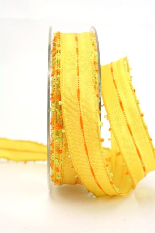 Geschenkband gelb-orange, 25 mm breit - sonderangebot, dekoband-mit-drahtkante