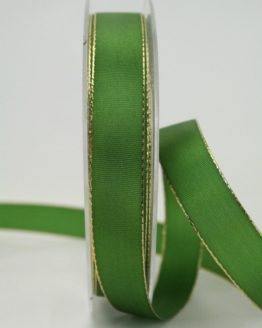 Geschenkband grün mit Goldkante, 15 mm breit - taftband, sonderangebot, geschenkband-weihnachten