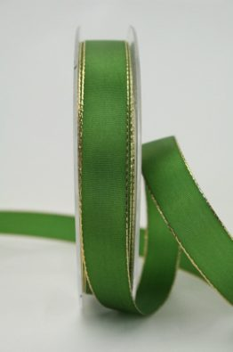 Geschenkband grün Goldkante 15mm (70148-15-500)