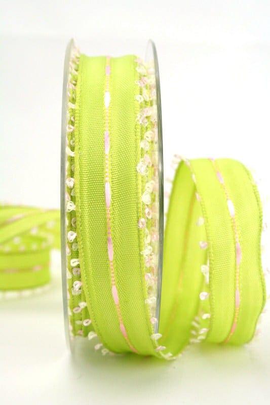Geschenkband grün-rosa, 25 mm breit - sonderangebot, dekoband-mit-drahtkante